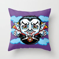 cunt Throw Pillows featuring Cunt Dracula by harebrained