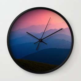 Blue Purple & Pink Mountains Sunset Silhouette Wall Clock