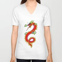 dragon V-neck T-shirts featuring dragon  by mark ashkenazi