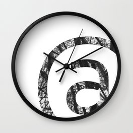 Minimal At Sign Print With Trees Photography Background Wall Clock