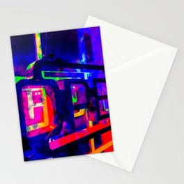 OPEN neon sign with pink purple red and blue painting abstract background Stationery Cards
