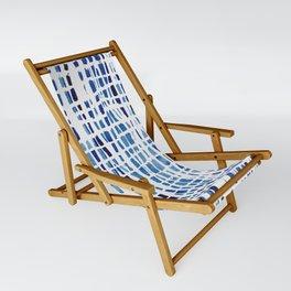 Shibori Braid Vivid Indigo Blue and White Sling Chair