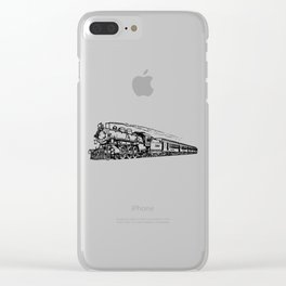 Old Steam Train Detailed Illustration Clear iPhone Case