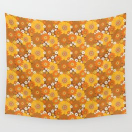 Pushing daisies Orange and brown Wall Tapestry