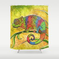 chameleon Shower Curtains featuring Chameleon  by Georgia Roberts