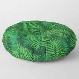 Green colored palm tree leaf pattern. Jungle tropical floral design. Floor Pillow
