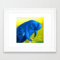 manatee Framed Art Prints featuring Manatee by Jennifer D. S. Stedman