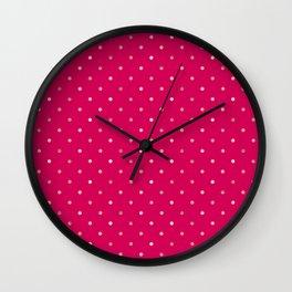 Hot Pink & Gold Polka Dot Pattern Wall Clock