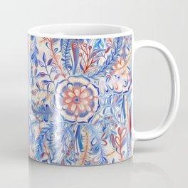 Boho Flower Burst in Red and Blue Coffee Mug
