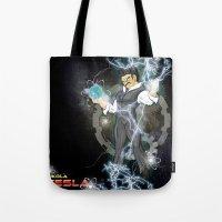 dbz Tote Bags featuring DBZ Tesla Milky Way by Hushy
