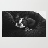 boston terrier Area & Throw Rugs featuring Boston Terrier. by agroeneveld33