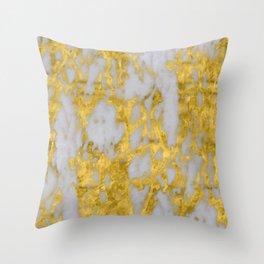 Luxury 24-Karat Gold Marble on Velvet Cream Throw Pillow