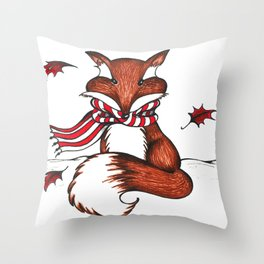 Holiday Fox Throw Pillow