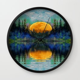 HARVEST MOON WILDERNESS LAKE LANDSCAPE Wall Clock