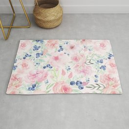 Midsummer Watercolor Roses And Blueberries  Rug