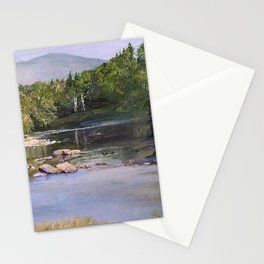 Landscape Vermont Summer River Watercolor Stationery Cards