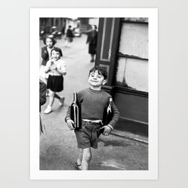 Little Boy and Bottles of Wine, Black and White Vintage Art Art Print