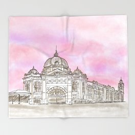 Sketching Flinders Street railway station Melbourne Australia Throw Blanket