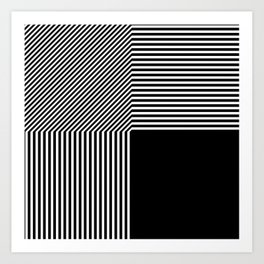Geometric abstraction, black and white Art Print
