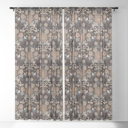 Mutant Helianthus Damask - Winter Sheer Curtain