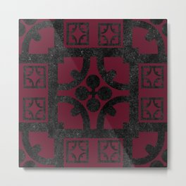 Cherry and black English half-timbered Tudor house pattern Metal Print