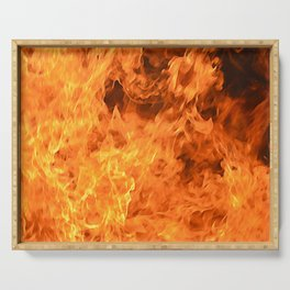 fire, as if painted Serving Tray