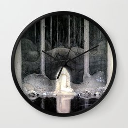 She is Looking For Her Heart By John Bauer Wall Clock