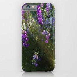 Purple Flowers Sunset Light Streaks iPhone Case