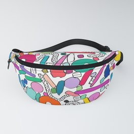 CIRCLES IN MOTION - rainbow shapes Fanny Pack