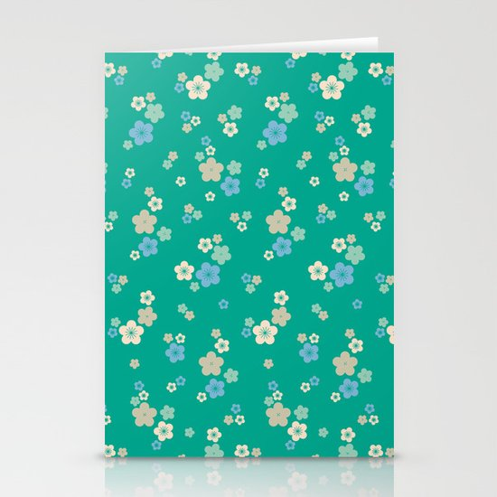 blossom ditsy in emerald Stationery Cards