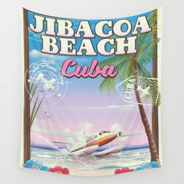 Jibacoa beach Cuba travel poster Wall Tapestry