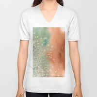 copper V-neck T-shirts featuring Tarnished Copper by Andrea Gingerich