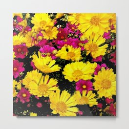 FUCHSIA PINK GARDEN YELLOW COREOPSIS FLOWERS Metal Print