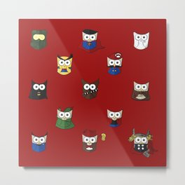 Nerd Boy (Owls) - Red Metal Print