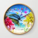 Tropical Beach and Exotic Plumeria Flowers by bluedarkatlem