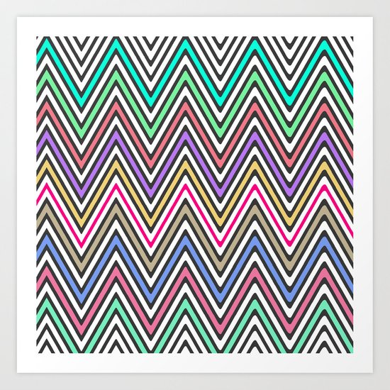 Bright Ethnic Aztec Native Chevron Pattern Art Print