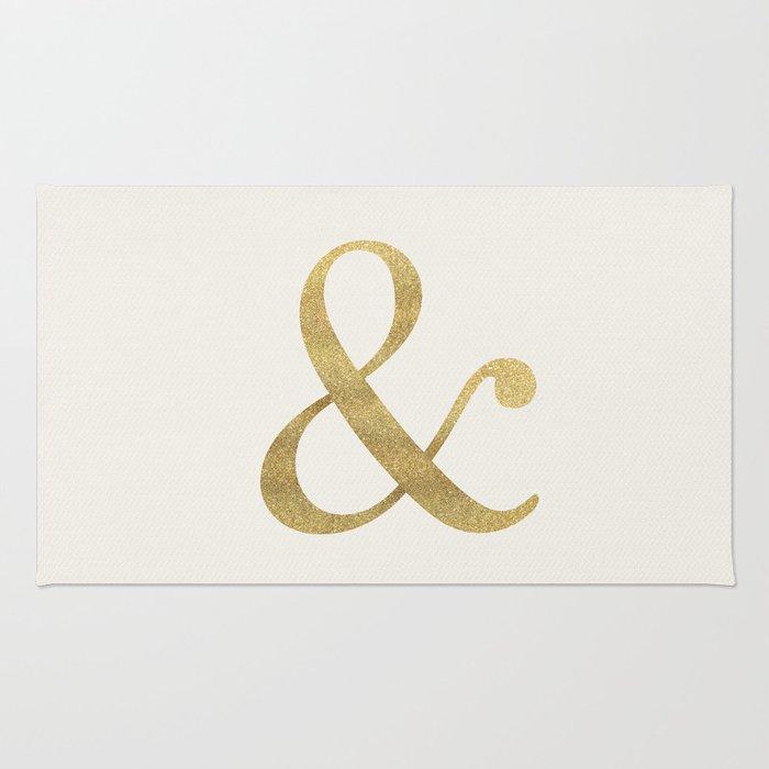 Gold Glitter Ampersand Rug