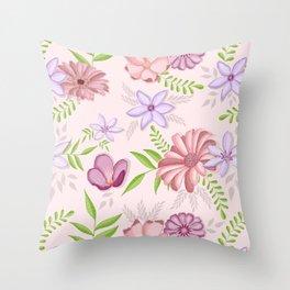Flowers dancing around Throw Pillow
