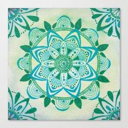 Simpe Blue/Green Mandala Canvas Print