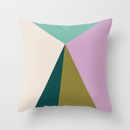 Purple Green Triangles Throw Pillow