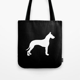 Great Dane dog breed art minimal simple black and white great danes silhouette Tote Bag
