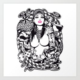 GIRL with SKULL AND SNAKE - PINK Art Print