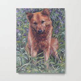 Finnish Spitz dog art painting from an original painting by L.A.Shepard Metal Print