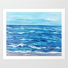 Choppy Ocean Painting Art Print