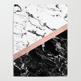 Modern black white marble color block rose gold Poster