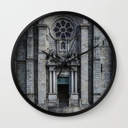 Facade of the imposing and somber Porto Cathedral, from Portugal. Wall Clock