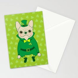 Cute French Bulldog is Feeling Lucky on St. Patrick's Day Stationery Cards