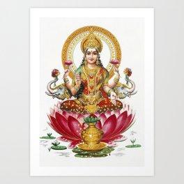 Hindu Goddess Lakshmi Poster Print  Indian Asia Yoga Meditation Art Print