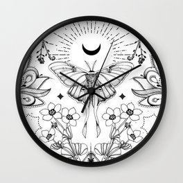 Bohemian Luna Moth On White Wall Clock