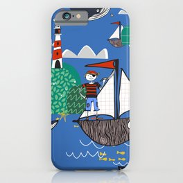 Pirates Ahoy Blue iPhone Case